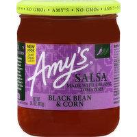 Amys Salsa, Black Bean & Corn, 14.7 Ounce