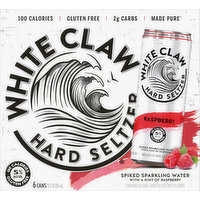 White Claw Hard Seltzer, Raspberry, Spiked, 6 Pack, 6 Each