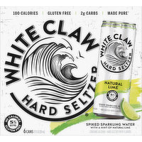 White Claw Hard Seltzer, Natural Lime, Spiked, 6 Pack, 6 Each