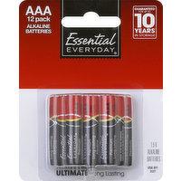 Essential Everyday Batteries, Alkaline, AAA, 12 Pack, 12 Each