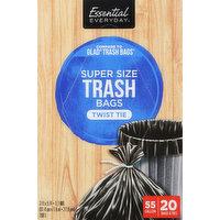 Essential Everyday Trash Bags, Twist Tie, Super Size, 55 Gallon, 20 Each