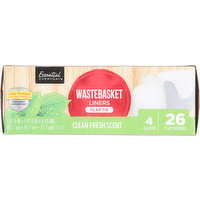 Essential Everyday Wastebasket Liners, Flap Tie, Clean Fresh Scent, 4 Gallon, 26 Each
