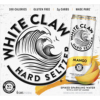 White Claw Hard Seltzer, Mango, Spiked, 6 Pack, 6 Each