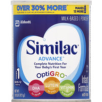 Similac Infant Formula, with Iron, Milk-Based Powder, Stage 1 (Birth-12 Months), 1.93 Pound