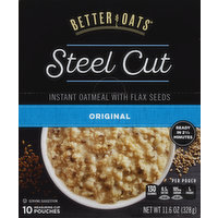 Better Oats Oatmeal, Instant, Steel Cut, with Flax Seeds, Original, 11.6 Ounce