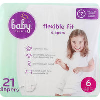 Baby Basics Diapers, 6 (35 lb & Over), Flexible Fit, 21 Each