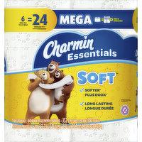 Charmin Bathroom Tissue, Soft, Unscented, Mega Rolls, 2-Ply, 6 Each