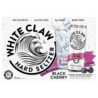 White Claw Hard Seltzer, Black Cherry, Spiked, 12 Pack, 12 Each