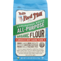 Bob's Red Mill Flour, Organic, All-Purpose, Unbleached White, 80 Ounce