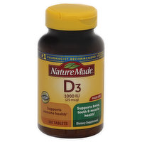 Nature Made Vitamin D3, 25 mcg, Tablets, Value Size, 300 Each