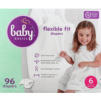 Baby Basics Diapers, Flexible Fit, 6 (35 lb & Over), 96 Each
