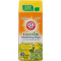 Arm & Hammer Disinfecting Wipes, Lemon Orchard, 40 Each