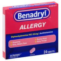Benadryl Allergy Relief, Tablets, 24 Each