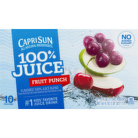 Capri Sun 100% Juice, Fruit Punch, 10 Each
