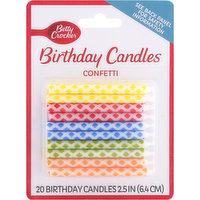 Betty Crocker Birthday Candles, Confetti, 2.5 Inch, 20 Each