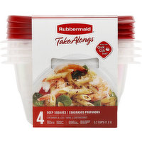 Rubbermaid Containers & Lids, Deep Squares, 4 Each