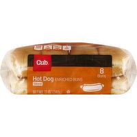 Cub Hot Dog Buns, Enriched, Sliced, 8 Each