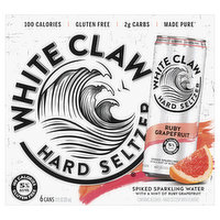 White Claw Hard Seltzer, Spiked, Ruby Grapefruit, 6 Pack, 6 Each