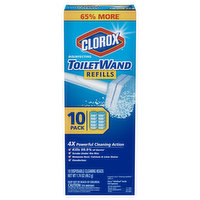 Clorox Toilet Wand, Disinfecting, Refills, 10 Pack, 10 Each