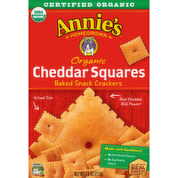 Annie's Homegrown Baked Snack Crackers, Organic, Cheddar Squares, 7.5 Ounce