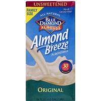Blue Diamond Almondmilk, Original, Unsweetened, Family Size, 64 Ounce
