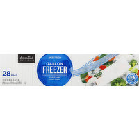 Essential Everyday Freezer Bags, Double Zipper, Gallon, 28 Each