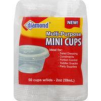 Diamond Cups, with Lids, Mini, 2 Ounce, 50 Each
