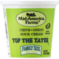 Mid America Farms Sour Cream, Chive-Onion, Family Size, 24 Ounce
