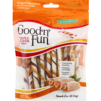 Good N Fun Snack for All Dogs, Triple Flavor, Twists, 22 Each