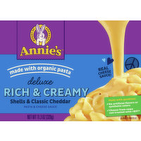Annie's Pasta & Cheese Sauce, Shells & Classic Cheddar, Deluxe, Rich & Creamy, 11.3 Ounce