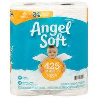 Angel Soft Bathroom Tissue, Unscented, Mega Roll, 2-Ply, 6 Each