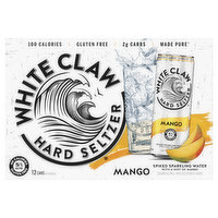 White Claw Hard Seltzer, Mango, Spiked, 12 Pack, 12 Each