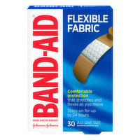 Band Aid Bandages, Adhesive, Flexible Fabric, All One Size, 30 Each