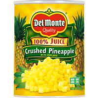 Del Monte Crushed Pineapple, 100% Juice, 20 Ounce