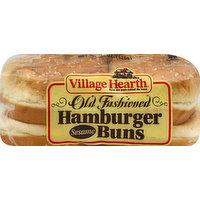 Village Hearth Hamburger Buns, Old Fashioned, Sesame, 15 Ounce