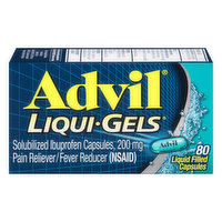 Advil Pain Reliever/Fever Reducer, 200 mg, Liquid Filled Capsules, 80 Each