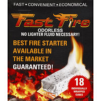Fast Fire Fire Starter, Individually Wrapped Cubes, 18 Each