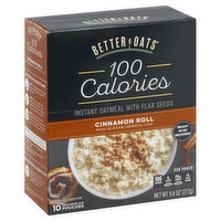Better Oats Instant Oatmeal with Flax Seeds, Cinnamon Roll, 9.8 Ounce