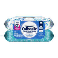 Cottonelle Flushable Wipes, Cleansing Water & CleaningRipples, 2 Each