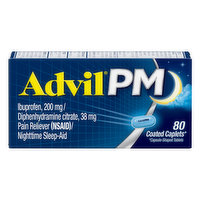 Advil Ibuprofen/Pain Reliever/Nighttime Sleep-Aid, Coated Caplets, 80 Each