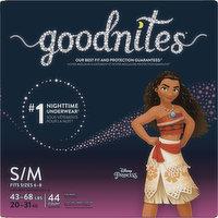GoodNites Underwear, Nighttime, Disney Princess, S/M (43-68 lbs), Girls, 44 Each