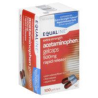 Equaline Acetaminophen, Extra Strength, 500 mg, Rapid Release, Gelcaps, 100 Each