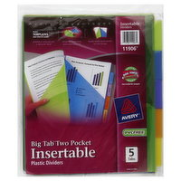Avery Plastic Dividers, Insertable, Big Tab Two Pocket, 5 Each