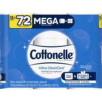 Cottonelle Toilet Paper, Mega Rolls, 1-Ply, 18 Each