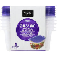 Essential Everyday Reusable Containers, Soup & Salad, 24 Fluid Ounce, 5 Each