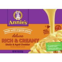 Annie's Pasta & Cheese Sauce, Shells & Aged Cheddar, Rich & Creamy, Deluxe, 11 Ounce
