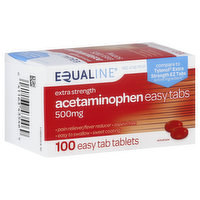 Equaline Acetaminophen, Extra Strength, 500 mg, Easy Tab Tablets, 100 Each