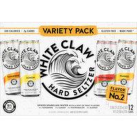 White Claw Hard Seltzer, Tangerine/ Lemon/ Watermelon/ Mango, Spiked, Variety 12 Pack, 12 Each