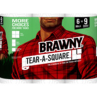 Brawny Paper Towels, Tear-A-Square, 2-Ply, Rolls, 6 Each
