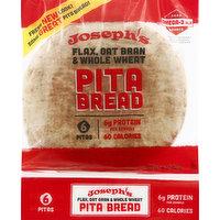Josephs Pita Bread, Flax, Oat Bran & Whole Wheat, 6 Each